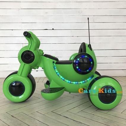 Детский электромотоцикл HL300 Green 6V - HL300 (музыка, световые эффекты, мягкие колеса EVA)